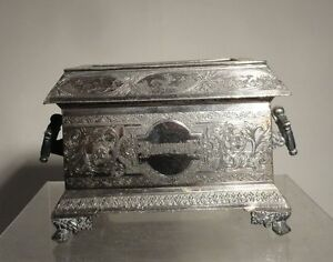 Antique Silverplate Box James Tufts Boston Bijouterie Jewelry Trinket Box