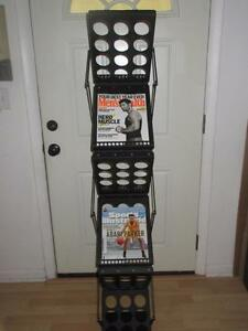 6 Pocket Magazine Display Folding Brochure Rack Holder Rack Pop up W Case
