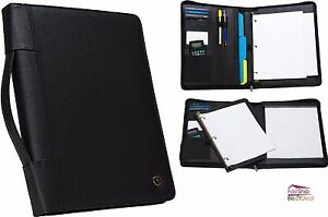Case it Zippered Padfolio Removable 3 Ring Binder Letter Size Writing Pad Holder