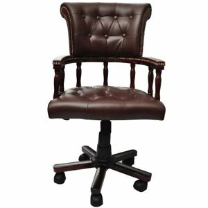 Executive Real Leather Office Swivel Chair Brown Chesterfield Captains Armchair