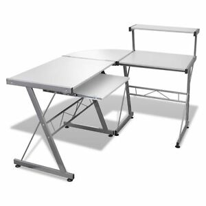 Wood L shape Corner Computer Desk Pc Laptop Table Workstation Home Office White