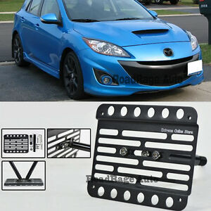 For 10 13 Mazdaspeed 3 Hatch Front Bumper Tow Hook License Plate Mount Bracket