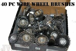 40pc Wire Wheel Brush Cup Assortment Crimped Steel 1 4 Shank Drills Rust Scale