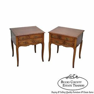Baker Milling Road Vintage Walnut Pair Of French Country Louis Xv Nightstands
