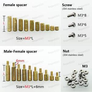25 50 100pcs Brass M3 Hex Column Standoff Support Spacer Screw Nut For Pcb Board