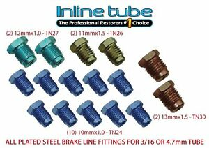 Metric Brake Line Fitting Kit For 3 16 Tubing Iso Bubble Flare Sae Oe Zinc 16pc