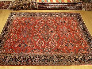9 X 12 Genuine Hand Knotted Antique 100 Years Old Persian Malayer Wool Rug