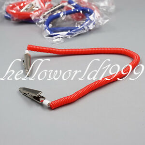 1x Dental Plastic Patient Bib Alligator Clips Chains Napkin Holder Flexible Coil