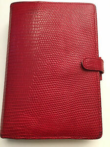 Filofax Red Real Lizard Skin Leather Exotic Vintage Personal Planner Organizer