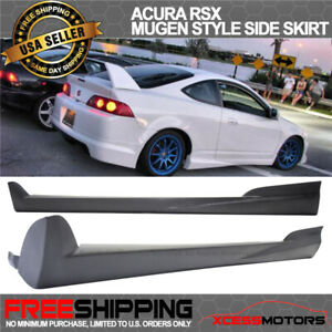 Fit 02 06 Acura Rsx Mugen Style Unpainted Black Side Skirt Extensions Urethane