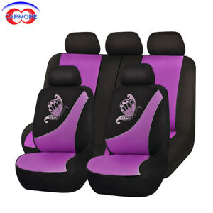 New Car Seat Covers Set Low Back Universal Flying Banner Breathable Purple