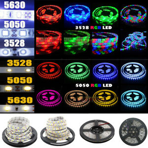 5M 300 LED Strip Light 3528 5050 5630 SMD RGB Ribbon Tape Roll Waterproof DC 12V $8.90