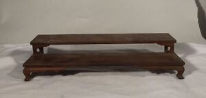 Antique Chinese Carved Hardwood Walnut Snuff Bottle Stand Display Base