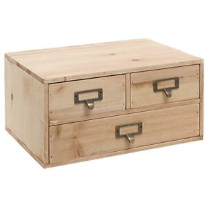Small Rustic Natural Wood Office Storage Cabinet Jewelry Organizer W 3 Drawer