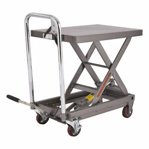 Rolling Table Cart 500lb Capacity Hydraulic Cart W foot Pump Dolly Heavy Duty