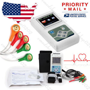 Portable 3 channel 24hrs Ecg Ekg Holter Analyze System Recorder Monitor software