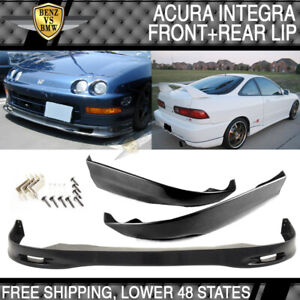 Black Poly Urethane Pu Spoon Front Rear Bumper Lip Fits 98 01 Acura Integra