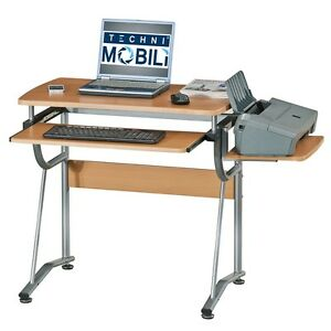 Techni Mobili Compact Computer Desk With Side Shelf And Keyboard Panel