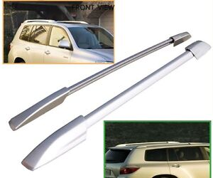 For 08 13 Toyota Highlander Roof Rack Side Rails Bar Silver Oe Style Pair Set