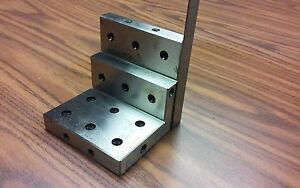 Angle Plate 4x4x4 Stepped precision Ground W Tapped Holes 0 0002 pgap 4 in