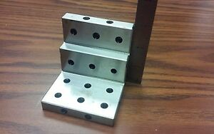 Angle Plate 3x3x3 Stepped precision Ground W Tapped Holes 0 0002 pgap 3 in