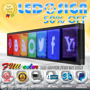 Led Sign Full Color 31 x98 Programmable Emc Scrolling Readerboard Outdoor Sign