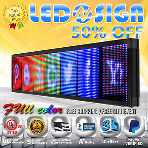 Led Sign Full Color 41x107 Programmable Emc Scrolling Readerboard Outdoor Sign
