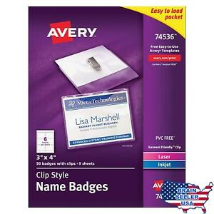 Avery Top loading Garment friendly Clip Style Name Badges 3 X 4 Box Of 50 7