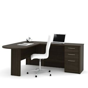 Bestar Embassy 66 L shaped Desk In Dark Chocolate
