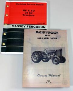 Set Massey Ferguson 50 Tractor Service Operator Manuals Technical