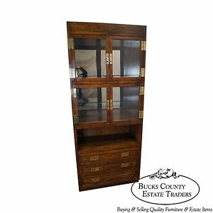 Henredon Scene 1 Campaign Style Curio Display Cabinet W Drawers B