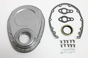 Sb Chevy Raw Plain Steel Timing Chain Cover Kit 350 Sbc Gasket Seal Bolts Set
