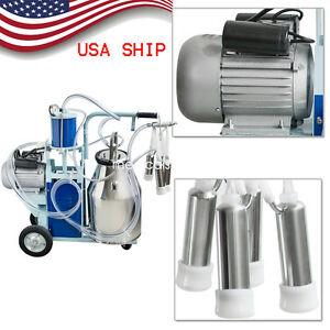 usa Stock electric Milking Machine Milker For Farm Cows Cattle 25l Bucket 110v