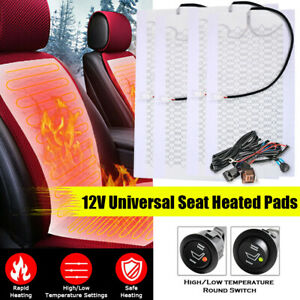 4x Universal Carbon Fiber 12v Car Seat Heater Round Switch Heating Pad Cover Kit