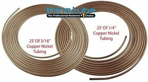 Copper Nickel Brake Line Tubing Kit 3 16 1 4 Od 25 Ft Coil Roll Inline Tube 2 Pc