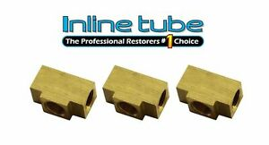 3 16 Inverted Flare Brake Line Brass Tee 3 8 24 Thread All Sides Te01 3pc Sae
