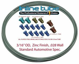 Oem Zinc Steel Brake Line Tubing Kit 3 16 25 Foot Coil Roll Metric Fittings Iso