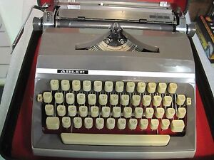Vintage 1966 Adler J5 Grey Deluxe Manual Portable Typewriter German Made