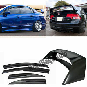 For 06 11 Honda Civic 4dr Si Sedan Mugen Style Window Visor Rr Spoiler Wing