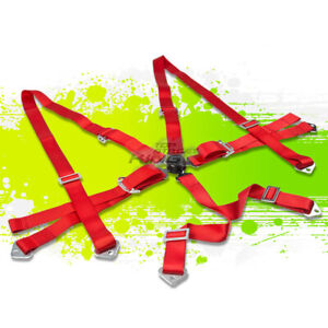 Red 2 Adjustable Strap Racing Seat Belts belt Safety Harness 6 Point Camlock