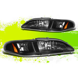Black Headlamp Head Light Amber Turn Signal Mark For 94 98 Mustang Gt svt Sn 95