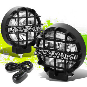 6 Round Black Body Clear Fog Light offroad Super 4x4 Guard Work Lamp grille