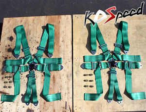 3 wide Green Nylon Strap 6 point Racing Camlock Safety Seat Belt Harness X2 bolt