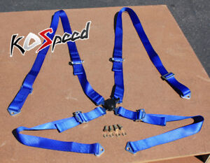 1x Universal 4 Point 2 Strap Camlock Drift Racing Safety Seat Belt Harness Blue