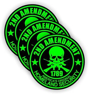 2nd Amendment Hard Hat Stickers | Welding Motorcycle USA Helmet Decals MAG Lime