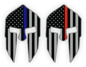 2 Spartan Helmet Hard Hat Stickers Firefighter Police Blue Red Line Decals