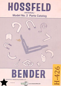 Hossfeld No 2 Bender Parts And Instructions 3 Books 122 Pages Manuals