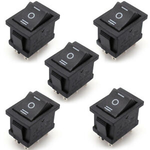 5x On off on 6 pin Dpdt 3 position Snap in Rocker Switches Ac 6a 250v 10a 125v