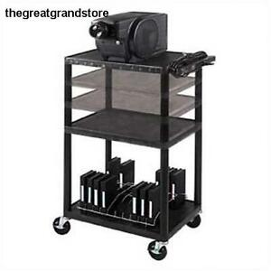 3 shelf Multi height A v Cart Black Usa Assembly Easy Safety Push Grip Metal Bar
