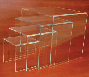 Plexiglass Large Riser Countertop Display Pos Store Fixture Clear Set Of 4 New